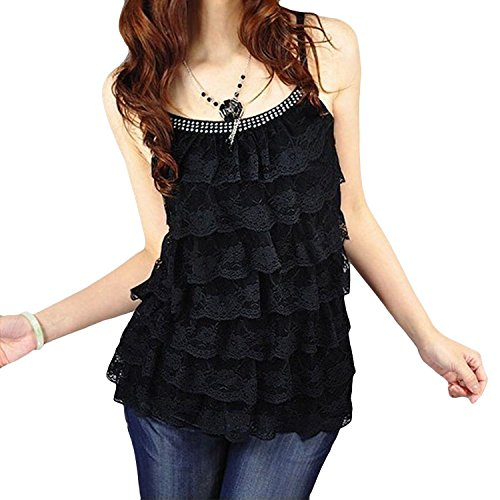 Women Lace Floral Tiered Ruffle Layers Bling Bling Tank Cami (Tiered Ruffle Top)