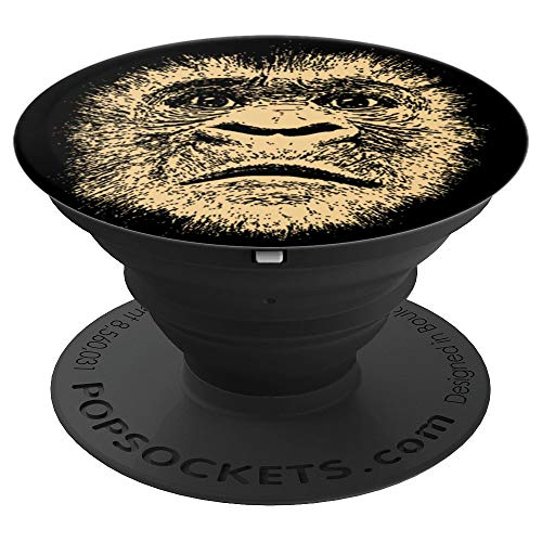 Gorilla Face Ape Funny Gift for Him Monkey Lover Adult Men - PopSockets Grip and Stand for Phones and Tablets