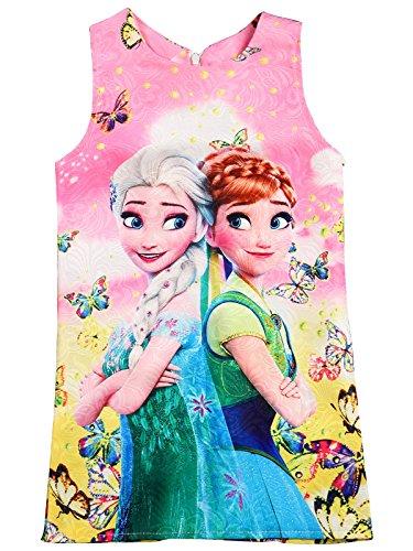 Wengift Girls Frozen Princess Sleeveless Skirt Vest Dress A-line Skirt (Toddler Frozen Dress)