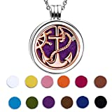 925 Sterling Silver Rose Gold Anchor Rudder Nautical Essential Oil Diffuser Locket Necklace