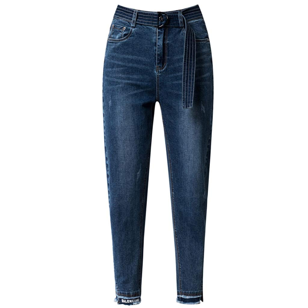bluee Curling Jeans Female Harem Pants Section Nine Pants Korean Version of The Slim Pants Feet Carred Pants Harlan Jeans Version was Thin Pants Length 9595.5cm (color   bluee, Size   32 4XL)