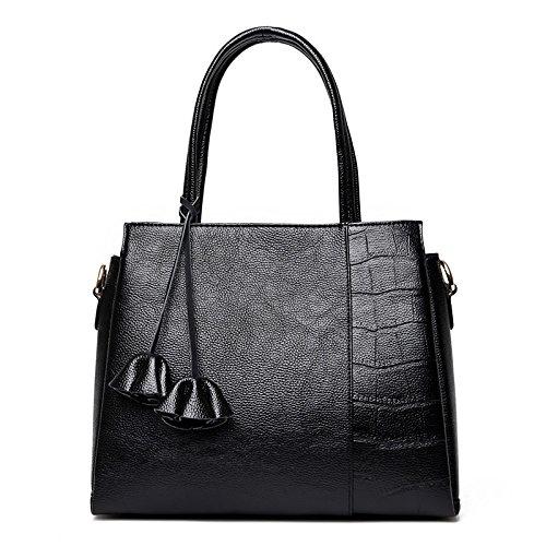 Meoaeo New Bag Ladies Leather Handbag Shoulder Fashion New Black Claret