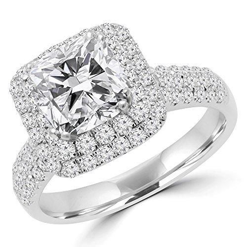 29/10CTW Diamant Coupe Coussin double Halo Mode Bague de fiançailles en or blanc 18K