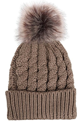 Pom Knit Accent Pom - Women's Winter Soft Knitted Beanie Hat with Faux Fur Pom Pom,Khaki