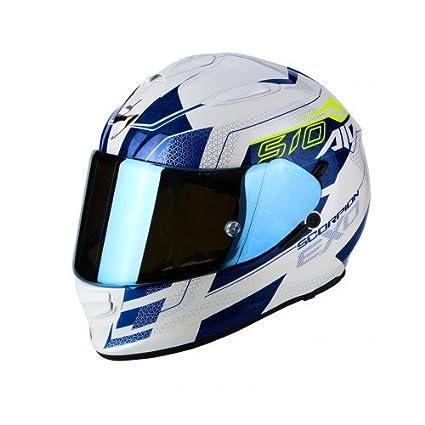 SCORPION Casque moto EXO 510 AIR Galva Blanc perle Bleu Blanc//Bleu M