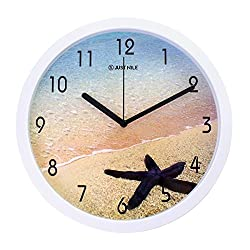 JustNile 10 Nautical Theme Round Quiet Sweep Movement Wall Clock, White Frame and Black Hands, Seastars on The Beach