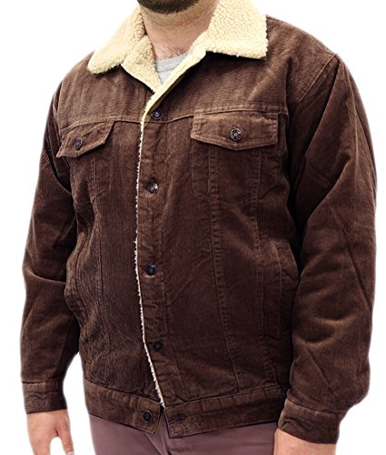 Woodland Supply Co. Men's Sherpa Lined Denim Jacket,X-Large,Brown Corduroy