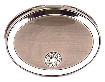 f9768b2331 Amazon.com : Danielle Oval Magnification Compact Mirror with Swarovski  Crystals, 5x, Pewter : Personal Makeup Mirrors : Beauty