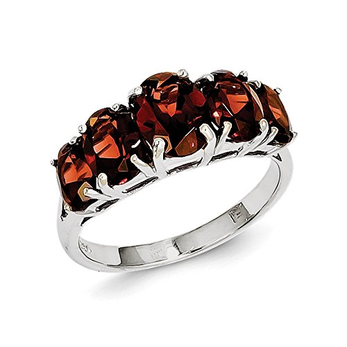 (Sterling Silver Polished Open back Rhodium-plated Rhodium Garnet Heart Ring - Size 7)
