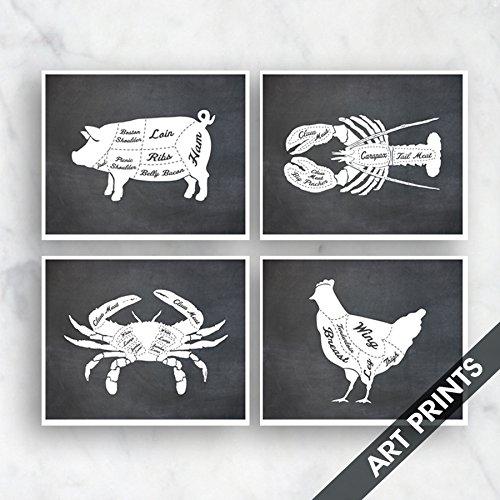 Pork, Lobster, Crab, Chicken (Butcher Diagram Series