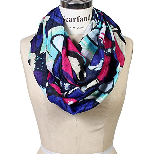 Painting Violet (Scarfand Vibrant Painting Artistic Print Infinity Scarf (Abstract Violet-Fuchsia))