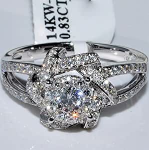 14K White Gold Engagement Ring Round Solitaire 0.83ctw