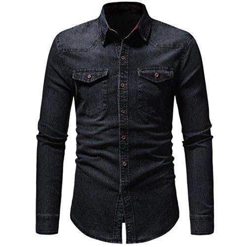 Men's Denim Shirts Clearance Sale vermers Men Autumn Winter Vintage Distressed Solid Long Sleeve Top Blouse(L, Black)