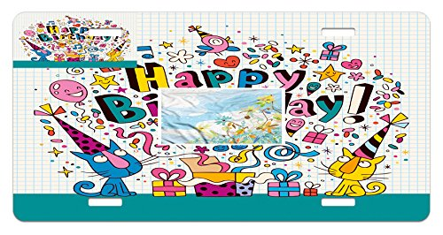 Birthday Style Notepads - Ambesonne Kids Birthday License Plate, Math Note Pad Inspired Design Cartoon Style Animals Cats Present Image, High Gloss Aluminum Novelty Plate, 5.88 L X 11.88 W Inches, Blue and White