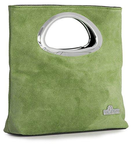 RHEA Small Foldable Clutch Suede Purse Leather LIATALIA Plain Lime Green Evening Italian Top Handle Bag 0ACY7xq