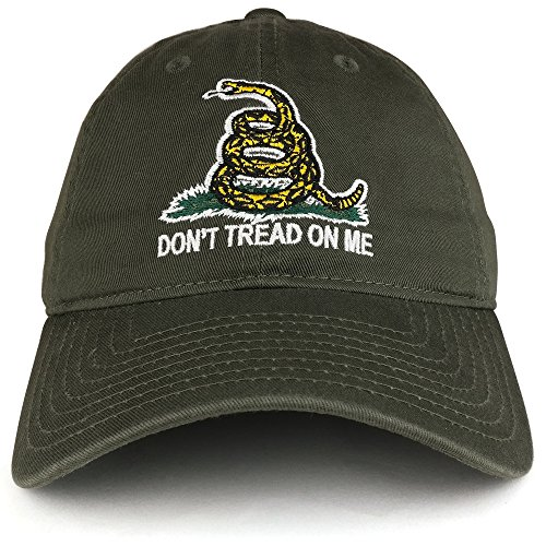 Gadsden Dont Flag Tread (Don't Tread on Me Gadsden Flag Embroidered Soft Washed Cotton Baseball Cap - Olive)