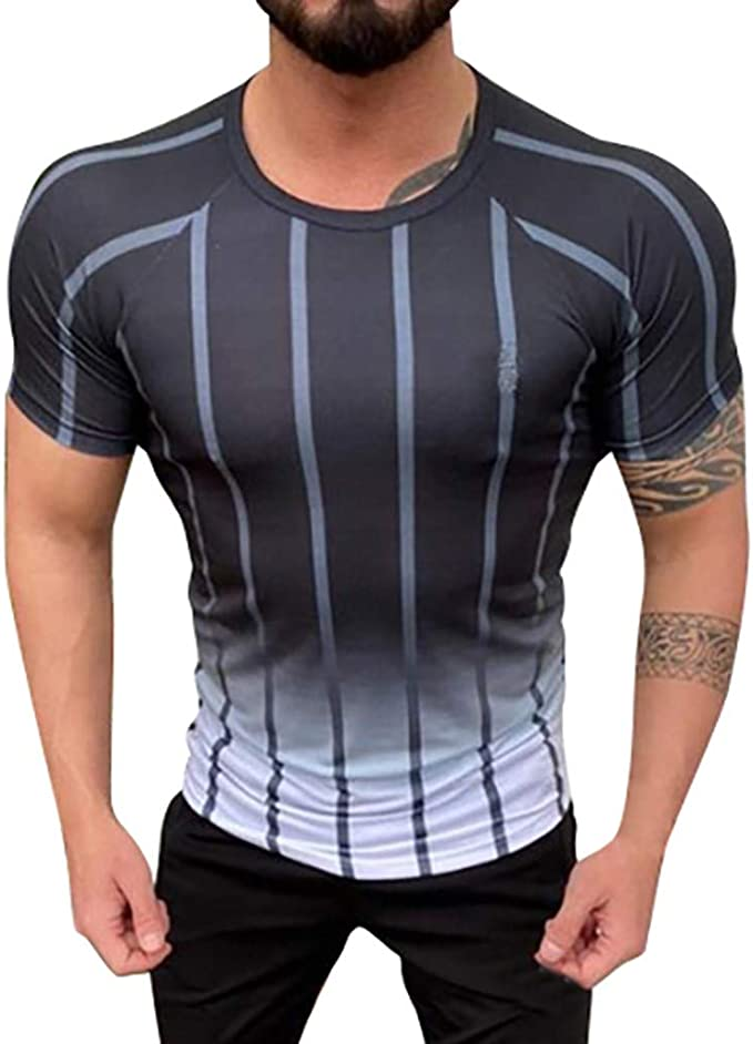 LEKODE Mens Summer Splicing Pattern Casual Fashion Tees Short Sleeve Shirt