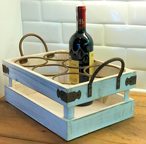 The Farmer's Market Bottle Holder, Wine Caddy, Florals, Vintage Milk Crate Style, White Stain, Distressed Weathered Finish Sustainable Wood, Rust Iron Hardware, 1Ft- 4 ½ In, by Whole House Worlds (Distressed Wine Box compare prices)