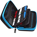 BRENDO Hard Carrying Case for New Nintendo 2DS XL + Large Stylus, Fits Wall Charger, 24 Game Cartridge Case Holder, Large Accessories Pocket - Black + Turquoise