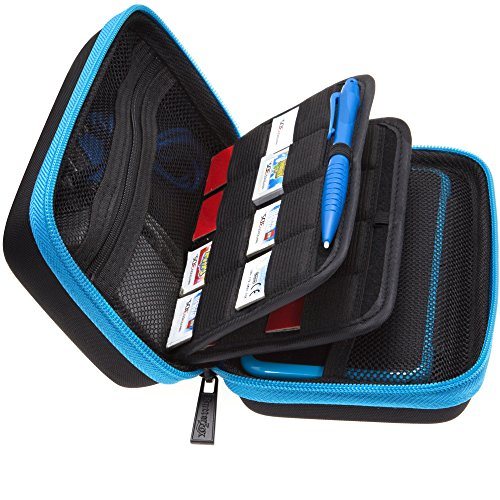 BRENDO New Nintendo 2DS XL Case and Large Stylus, Fits Wall Charger, 24 Game Cartridge Case Holder, Large Accessories Pocket - Black + Turquoise