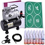 Professional Airbrush Pro Air Compressor Tank w/ Stencil Ink Holder for Makeup Tattoo Ink for Hobby - Black