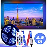 TV LED Strip Lights, [Energy Efficiency Class A]Diyife 2.5M 75 LEDs TV Backlight With FR Remote Control 5050RGB Bias Lighting For 40-60 Inch HDTV, USB Powered Multicolor Neon Accent Lighting For TV / PC