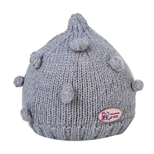 WARMSHOP Toddler Girls Boys White Beanie Hats 0-4 Years Old  Lovely Hairball Cartoon Soft Handmade Knitted Warm Winter Cap (0-4 Years Old, -