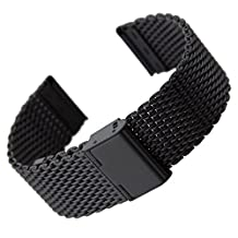BlueBeach® 22mm Milanese Mesh Stainless Steel Watch Strap Bracelet Replacement for Pebble Time / Motorola 360 2nd Gen / Samsung Gear 2 R380 R381 R382 / LG G Watch W100 / LG G Watch R W110 / LG Watch Urbane W150 / Asus ZenWatch / Asus Vivowatch (Black)