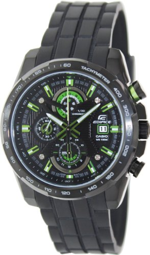 Casio Men's Edifice EFR523PB-1AVDF Black Resin Quartz Watch with Black with Green Dial, Watch Central