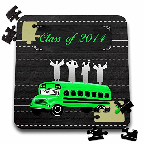 Beverly Turner Graduation Design - Graduates on School Bus with Notebook Page Background, Green and Black - 10x10 Inch Puzzle - Notebook Turner