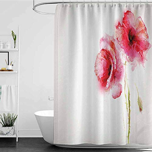 homecoco Shower Curtains That Look Like Doors Flower Decor,Spring Season Vivid Florals Red Poppies Watercolor Print,Hot Pink Light Green and White W60 x L72,Shower Curtain for clawfoot tub (Red Flower That Looks Like A Poppy)