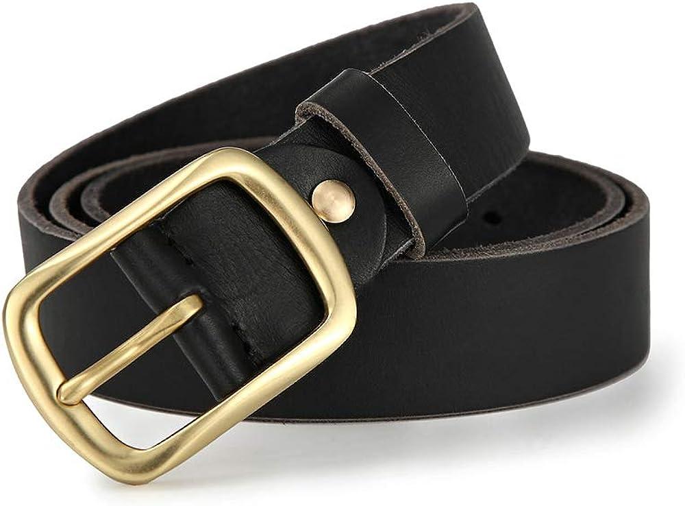 Mens Genuine Leather Cowhide Belt Luxury Pin Buckle Casual Belt Classic Vintage Cowboy Belt Masculine,E,115cm
