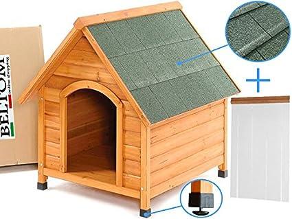 Cucha XL de madera para perros de tamaño grande + Cortina térmica de PVC + Patas
