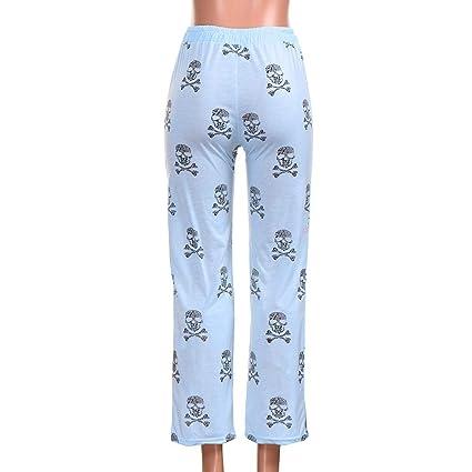 Pantalones Anchos Marlene para Mujer Otoño Invierno 2018 Moda PAOLIAN Casual Pantalones Yoga Acampanados Vestir Cintura Baja Estampado Calaveras Halloween ...