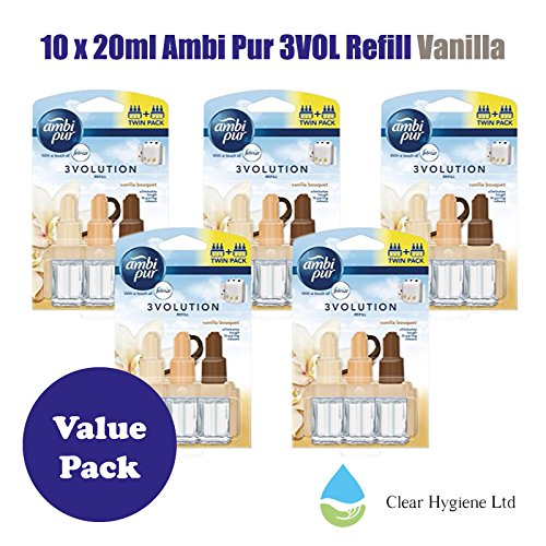 5 x 2 - 20ml Ambi Pur 3VOL Refill Twin Vanilla