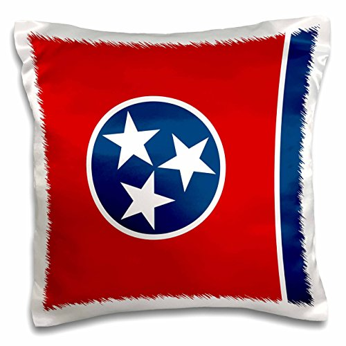 - 3dRose Flag of Tennessee TN-Us American United State of America USA-Red Blue Circle 3 White Stars-Pillow Case, 16 by 16