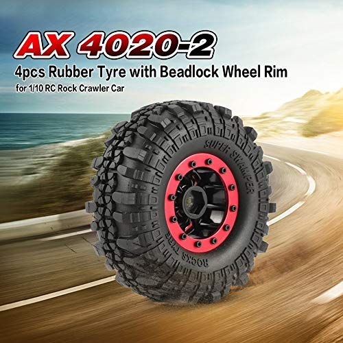 4pcs AX 4020-2 110mm 1.9in Rubber Tire with Alloy Beadlock Wheel Rim for AXIAL SCX10 90046 RC4WD D90 1/10 RC Rock Crawler Car