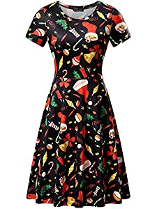 FENSACE Womens Santa Claus Printed Gifts Christmas Xmas Dress