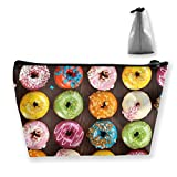 Trapezoid Toiletry Pouch Portable Travel Bag Doughnuts Coloful Zipper Wallet