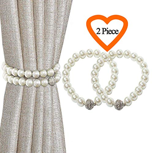 Iagoryue Curtain Tiebacks 2 Pack, Pearl Style Magnetic Curtain Tieback Easy to Use, Best Curtain Tie Back Clips, Curtain Holdbacks for Thin or Thick Window Decorative, (16 Inch, ()