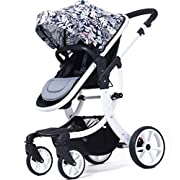 AIMILE Luxury Newborn Baby Pram Infant Foldable Anti-shock High View Jogger Stroller Multi-Positon Reclining Seat Stroller Pushchair(Khaki)