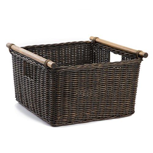 The Basket Lady Deep Pole Handle Wicker Storage Basket, XL, Antique Walnut Brown