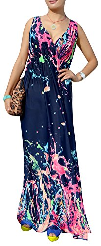 QZUnique Women's Plus Size V-Neck Sleeveless Elastic Waist Bohemian Beach Dress Maxi Dress 5XL
