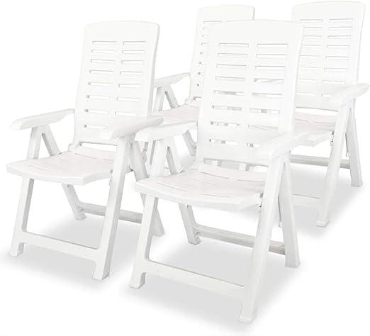 Tuduo sillas reclinables de jardín 4 Unidades 60 x 61 x 108 cm plástico Blancas diseño Sencillo y Elegante, Robusto y Estable Silla Exterior Taburete Bar sillones jardín: Amazon.es: Jardín