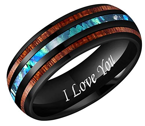(CROWNAL 8mm Rare Koa Wood and Abalone Shell Inlay Balck Tungsten Carbide Ring Men Women Wedding Band Engraved I Love You Size 7 to 17 (8mm,9.5))
