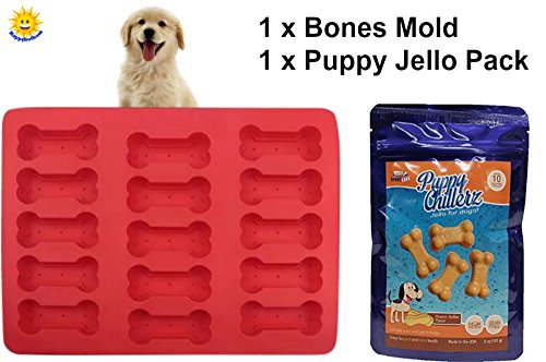 Dog Bones Mold Treat Kit | Food Grade Silicone Baking Mold For Doggy Snacks | Puppy Cake Puppy Chillerz Peanut Butter Flavor Jello Mix for Dogs (Grain- Free) - Great for Bone and Joint Health (Animals Baking Pans)