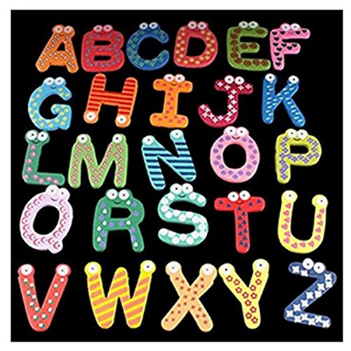 Fridge Magnets of 26 Magnetic Letters of the alphabet, Refrigerator Magnets, Sticker, Toys for children's education Aszune