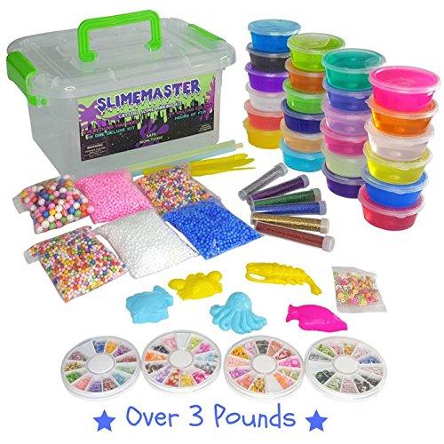 DIY Crystal Slime Making Kit - Super Slime in 24 Colors - Big Kids Craft Kit for Boys & Girls - Supplies Include Foam Balls, Glitter Bottles, Wheel & Fruit Slice Decorations in Clear Container SLIMEMASTER