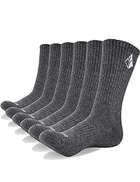 YUEDGE 6 Pack Men and Women Performance All Season Cotton Cushion Crew Work Casual Socks