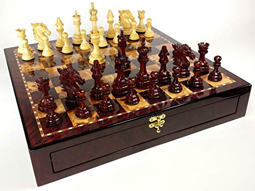 - DBL Queens - 4 5/8 inch King Blood Rosewood Staunton Wood Dragon Knight Chess Set W/ 20